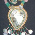 Beaded Shell Leaf Pendant