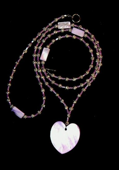 Lavender Shell Heart Pendant