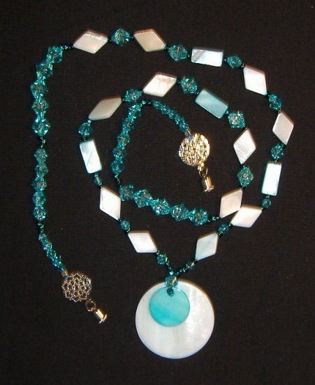 Two-Tone Turquoise Shell Pendant