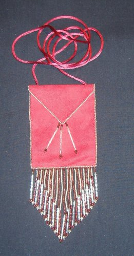 Large Red Suede Amulet bag with Dangles