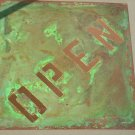 "Copper OPEN and CLOSED sign 12"" x 12"" Diamond shape"