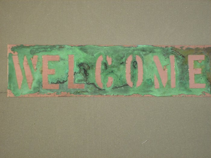 """Copper WELCOME sign 3"""" x 12"""""""