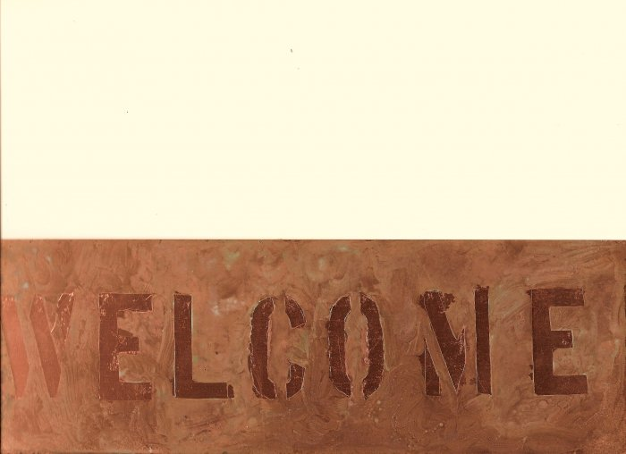 """Copper WELCOME sign 4"""" x 12"""""""