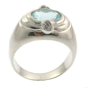 Genuine Diamond & Blue Topaz With 925 Sterling Silver Ring
