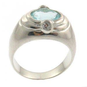 Genuine Diamond & Blue Topaz With 925 Sterling Silver Ring