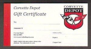 $100.00 - Corvette Depot Gift Certificate