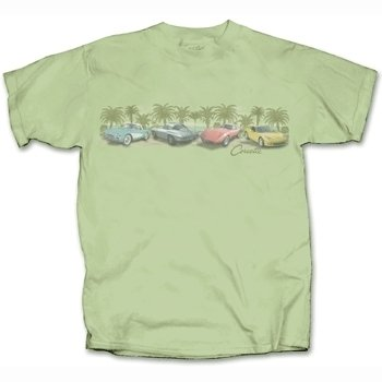 Corvettes Among the Palms on a Sage Green T-Shirt - XL