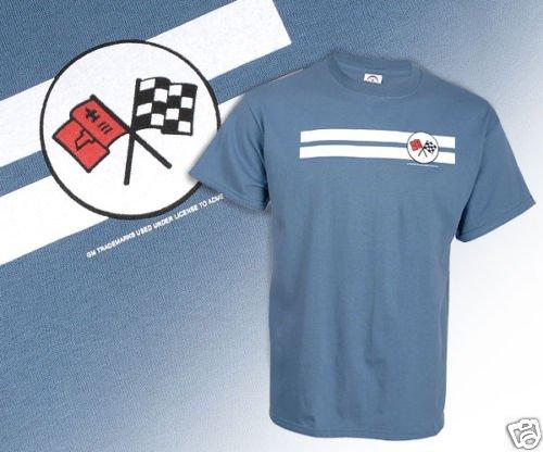 C2 Corvette Emblem and White Striped Blue T-Shirt - XL