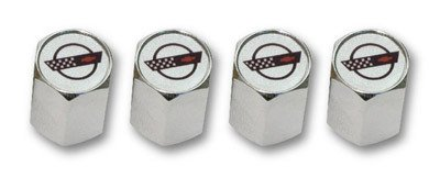 C4 Corvette Logo Valve Stem Caps - Chrome - (Set of 4)