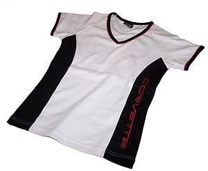 Women's Corvette Black, White and Red Shirt - M