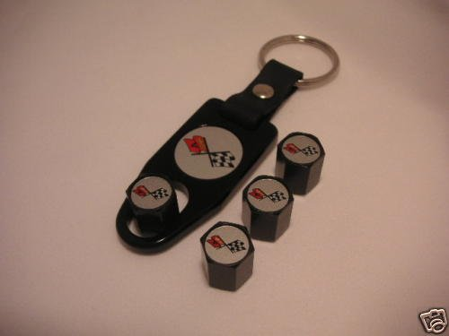 C3 Corvette Logo Valve Stem Cap - Black - Gift Set