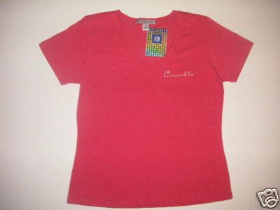 Women's Pink Rose Corvette Classic Script T-Shirt - L