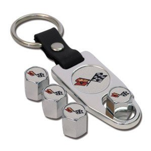 C3 Corvette Logo Valve Stem Cap - Chrome - Gift Set