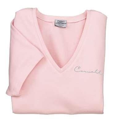 Women's Light Pink Corvette Classic Script T-Shirt - XL