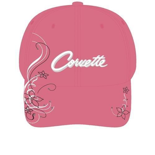 Women's Pink Corvette Script Hat with Rhinestones