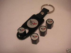 C5 Corvette Logo Valve Stem Cap - Black - Gift Set