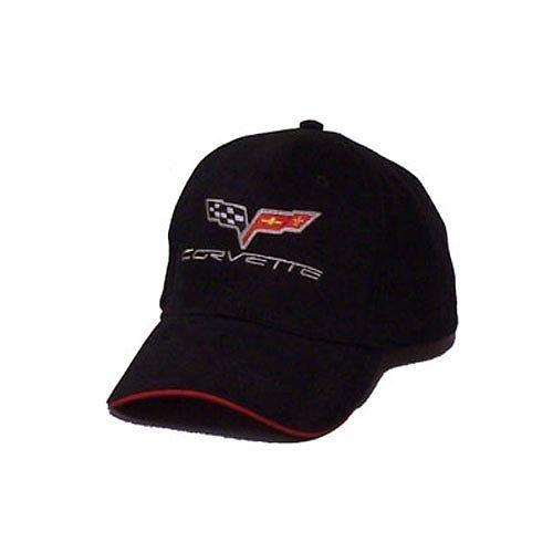 C6 Corvette Soft Cotton Sandwich Brim Hat - Black