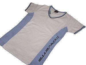 Women's Corvette Blue and White V-Neck Shirt - L