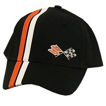 C3 Corvette Black Brush Twill Hat with Stripes