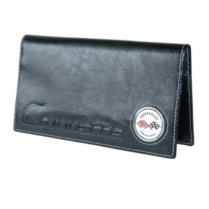 Corvette C1 Checkbook Cover - Black Leather