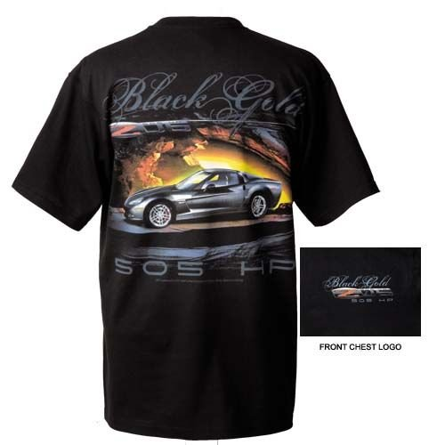 "C6 Z06 Corvette ""Black Gold"" 505HP T-Shirt - 3XL"