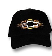 """Chevy """"Bowtie On Fire"""" Low Profile Black Hat"""