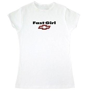 Women's Fast Girl Chevy Bowtie White T-Shirt - XL