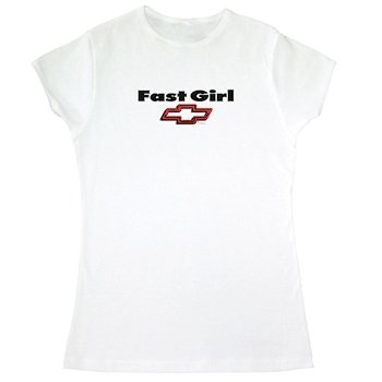 Women's Fast Girl Chevy Bowtie White T-Shirt - L