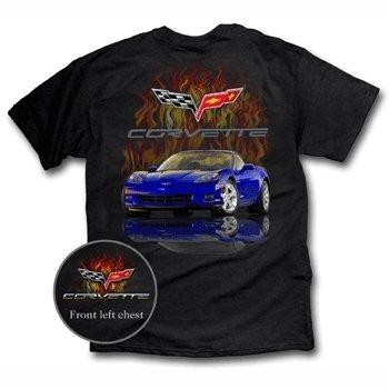 C6 Blue Corvette with Flames on a Black T-Shirt - L