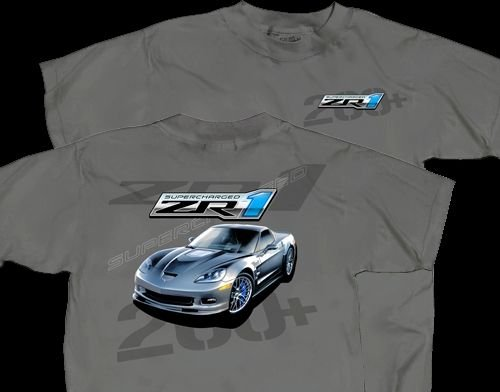 """C6 ZR1 Corvette """"Supercharged"""" Charcoal T-Shirt - L"""