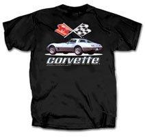 C3 Silver Corvette on Black T-Shirt - L