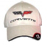 C6 Corvette Bone Brushed Twill Hat with Brim Emblem