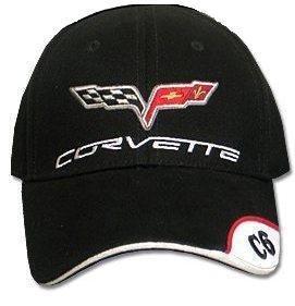 C6 Corvette Black Brushed Twill Hat with Brim Emblem