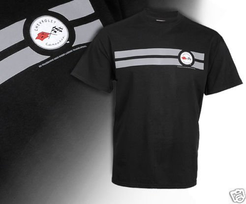 C1 Corvette Emblem and Silver Striped Black T-Shirt - XL