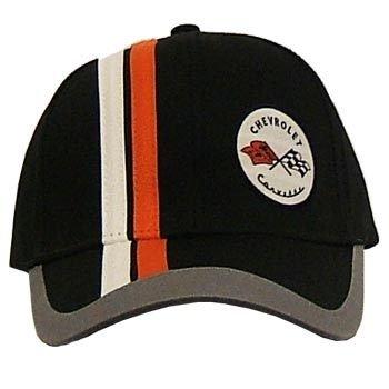 C1 Corvette Black Brush Twill Hat With Stripes