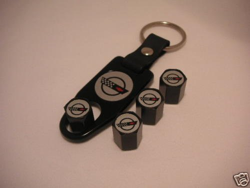 C4 Corvette Logo Valve Stem Cap - Black - Gift Set