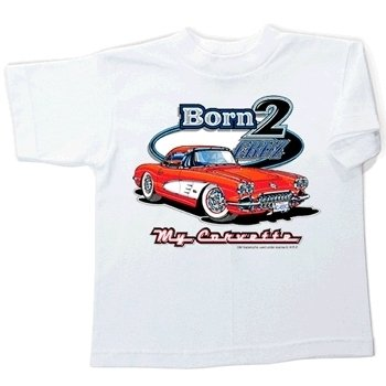 Children's Born 2 Cruz My Corvette White T-Shirt -10-12