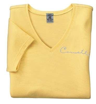 Women's Yellow Corvette Classic Script T-Shirt - L