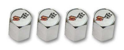 C3 Corvette Logo Valve Stem Caps - Chrome - (Set of 4)
