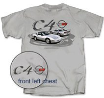 C4 Grey T-Shirt Featuring Two Silver C4 Corvettes - L