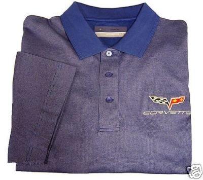 C6 Corvette C&B Birdseye Blue Emboidered Polo Shirt - M