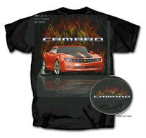Chevy Camaro with Flames on a Black T-Shirt - L