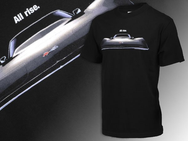 "C3 Corvette ""All Rise"" Black Front View T-Shirt - XL"