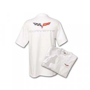 C6 Corvette White Silk Screened T-Shirt - L