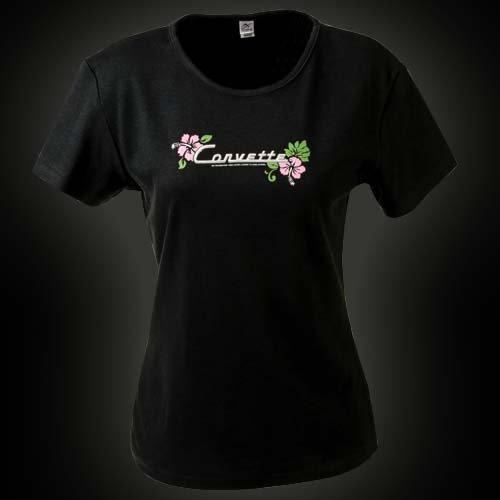 Women's Black Corvette Floral Cap Sleeve T-Shirt - XL