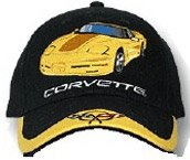 C5 Corvette Black/Yellow Car Low Profile Cotton Hat