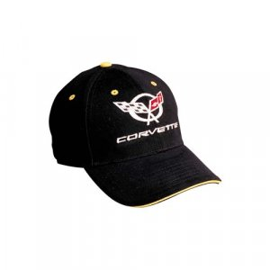 C5 Corvette Black Hat with Yellow Brim Piping & Eyelets