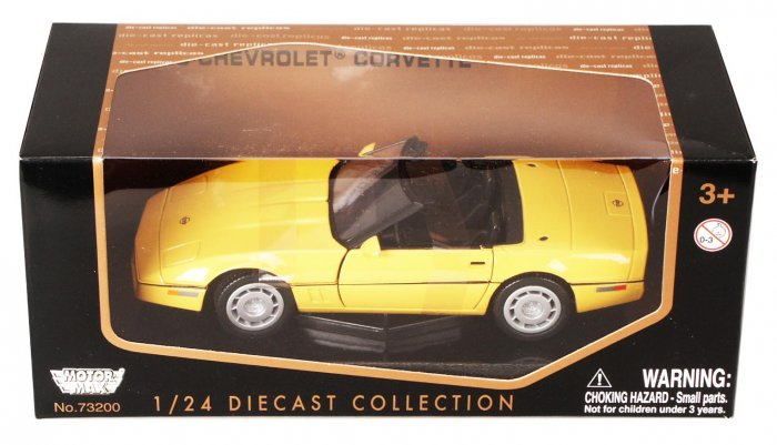 C4 1986 Yellow Corvette Convertible 1:24 Diecast