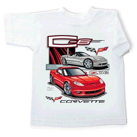 Children's C6 and Z06 Corvette White T-Shirt - 6-8
