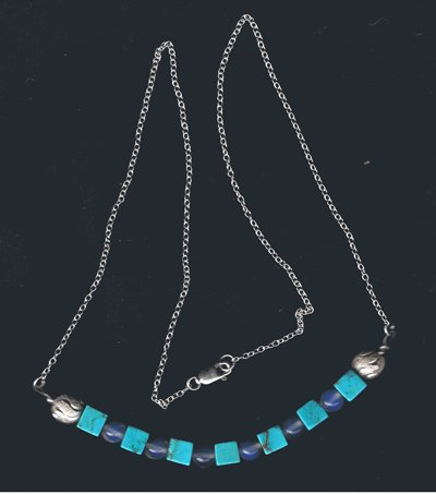 Turquoise moonstone sterling silver necklace